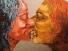 Küssende, Acryl auf Leinwand 100x100